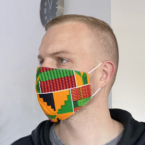 African print Mouth mask / Face mask made of 100% cotton Unisex - Yellow green Kente