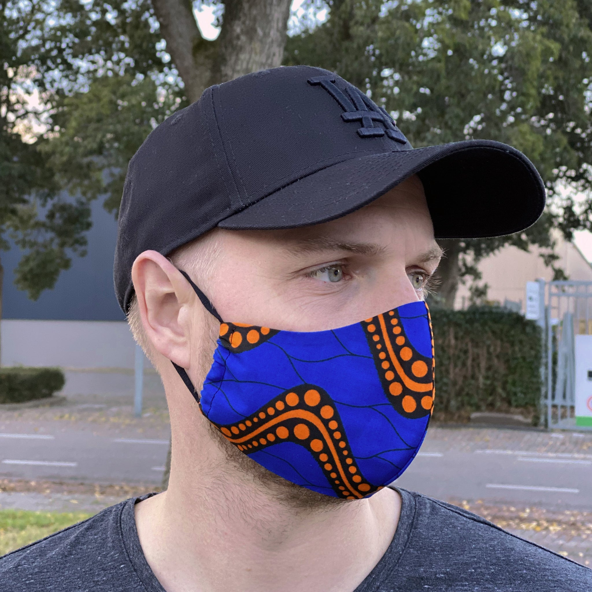 African print Mouth mask / Face mask made of cotton (Premium model)  Unisex - Blue orange waves