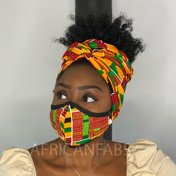 African headwrap + face mask (Premium set) - Kente print