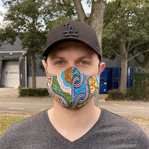 African print Mouth mask / Face mask made of cotton (Premium model)  Unisex - Blue / Mustard
