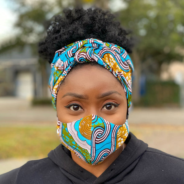 African headwrap + face mask (Premium set) - Blue / Mustard