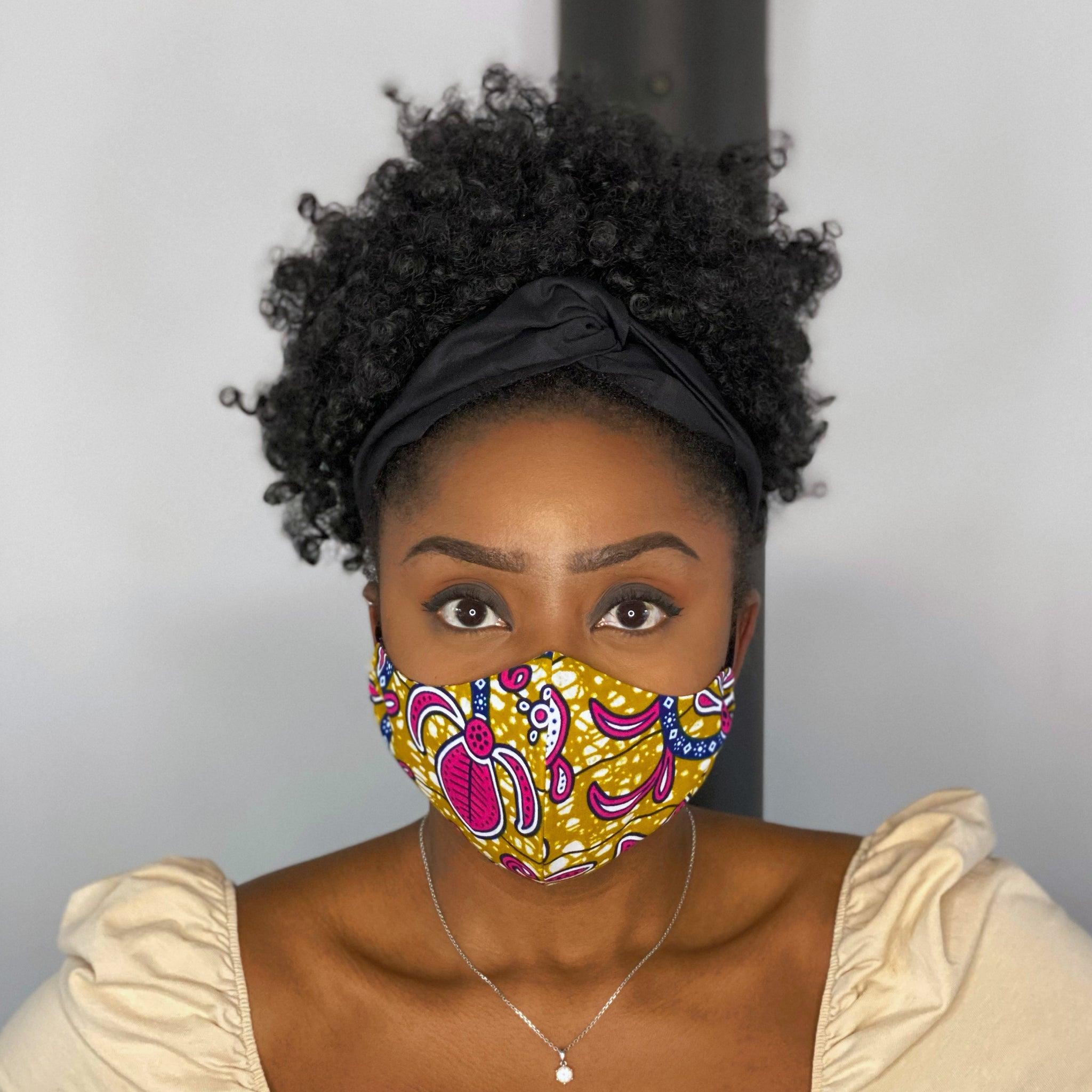 African print Mouth mask / Face mask made of cotton (Premium model)  Unisex - Mustard / Pink