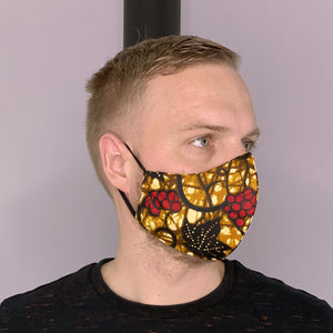 African print Mouth mask / Face mask made of cotton (Premium model) Unisex - Mustard leaves