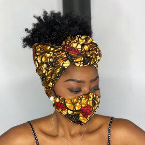 African headwrap + face mask (Premium set) - Mustard leaves