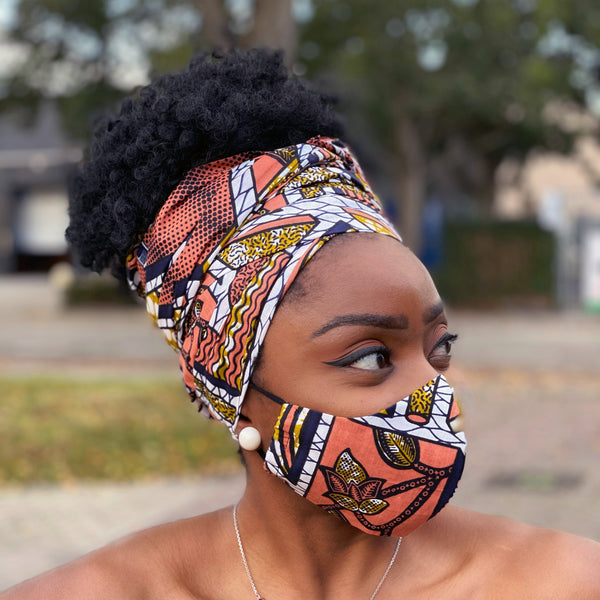 African headwrap + face mask (Premium set) - Peach / mustard plaid