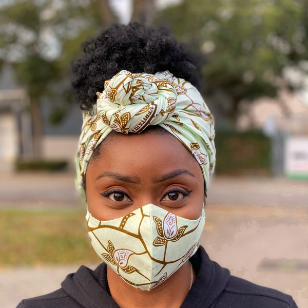 African headwrap + face mask (Premium set) - Olive leaftrail