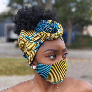 African headwrap + face mask (Premium set) - Turquoise Yellow swirl