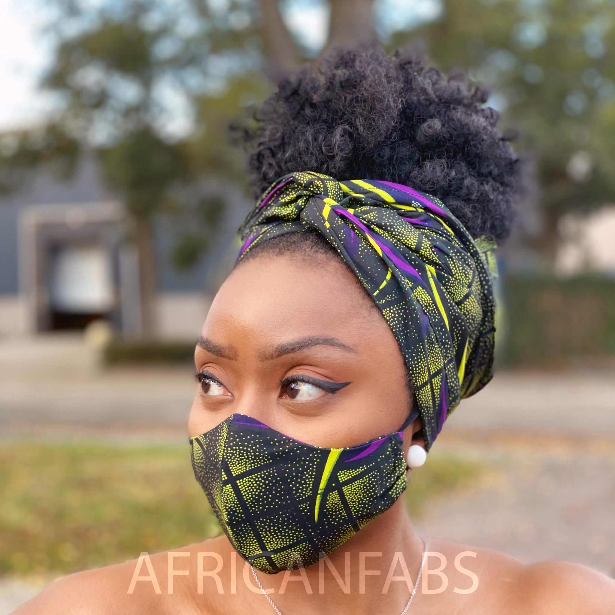 African headwrap + face mask (Premium set) Vlisco - Green purple butterflies