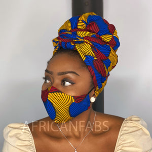 African headwrap + face mask (Premium set) Vlisco - Red blue santana