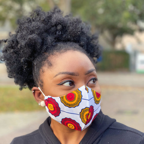 African print Mouth mask / Face mask made of cotton (Premium model) Unisex - White Red disks