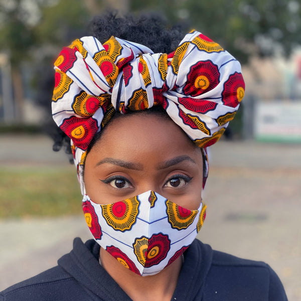 African headwrap + face mask (Premium set) - White red disks
