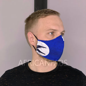 African print Mouth mask / Face mask made of Vlisco fabric (Premium model) Unisex - Blue speedbird