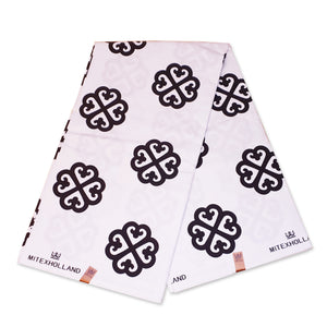 African Wax print fabric White / Black Adinkra symbols 3 / 100 % cotton flock print