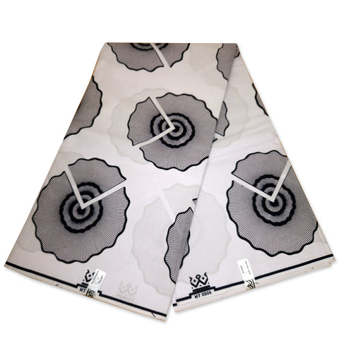 African Wax print fabric - GOLD - GREEN dotted circles - 100 % cotton - Gold embellished
