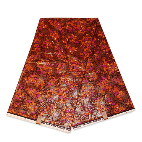 African Wax print fabric - GOLD - ORANGE Mozaic - 100 % cotton - Gold embellished