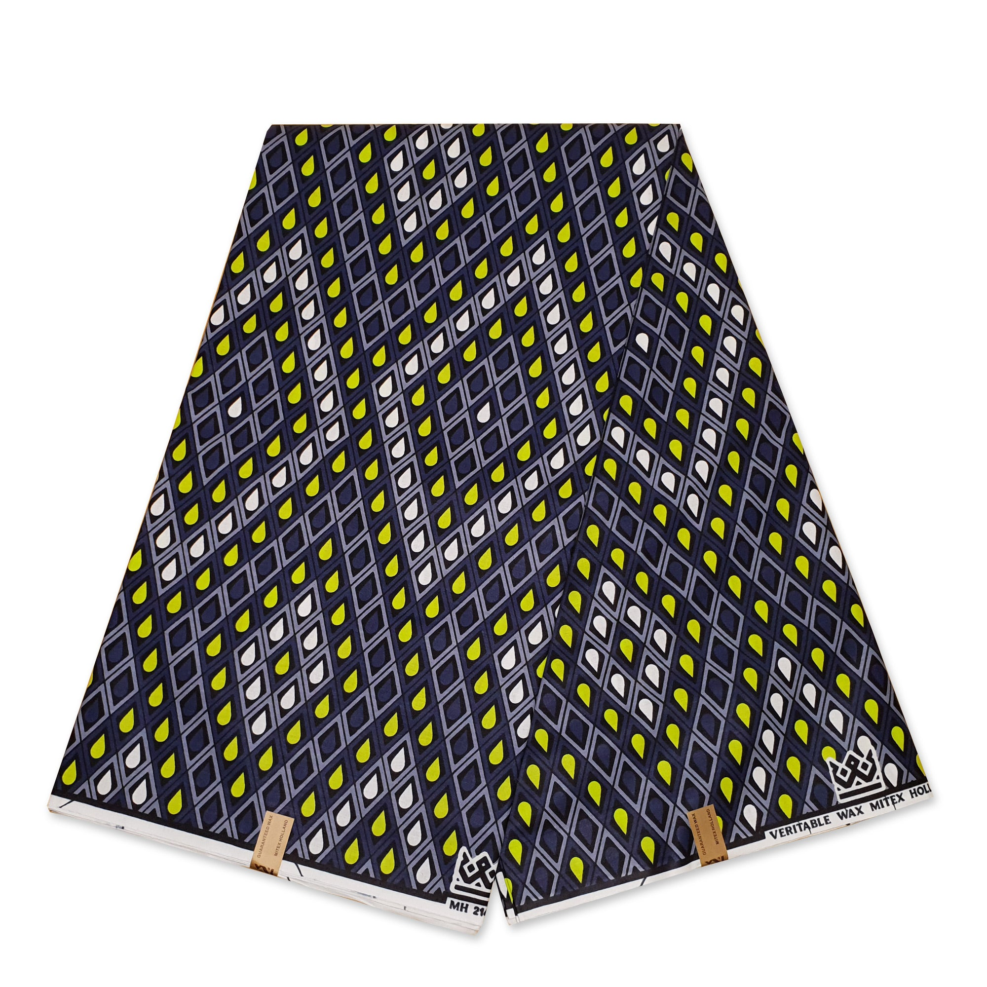 African Wax print fabric BLUE / ORANGE EYES