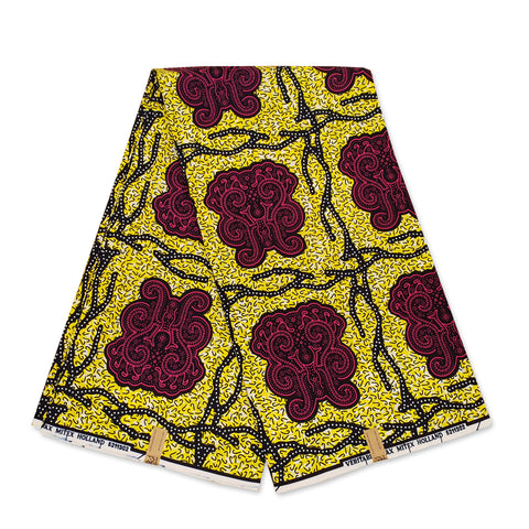 African Wax print fabric RED / YELLOW CONFETTI