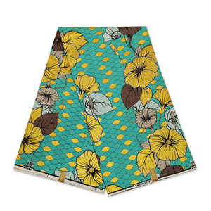 African Wax print fabric - Red / yellow big leaves