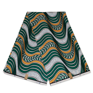 African Wax print fabric - Green / orange waves
