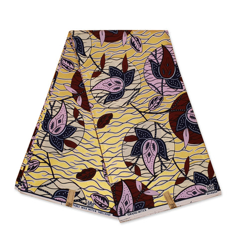 African Wax print fabric - Purple / green big leaves