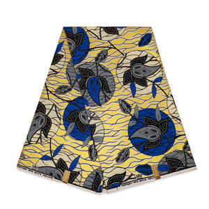 African Wax print fabric LIGHT BLUE / BROWN SUNFLOWERS