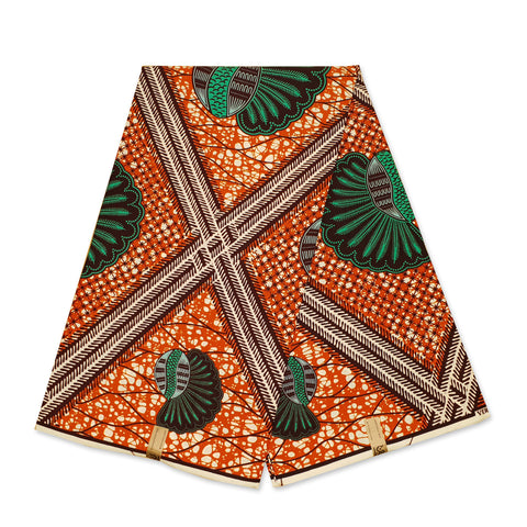 African Wax print fabric Salmon Flower trails