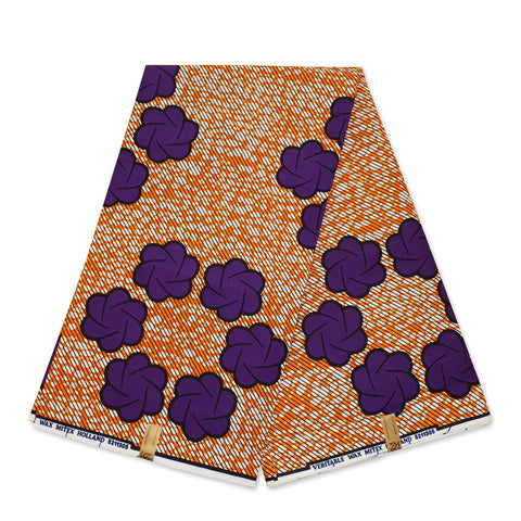 African Wax print fabric White Brown Flower trails