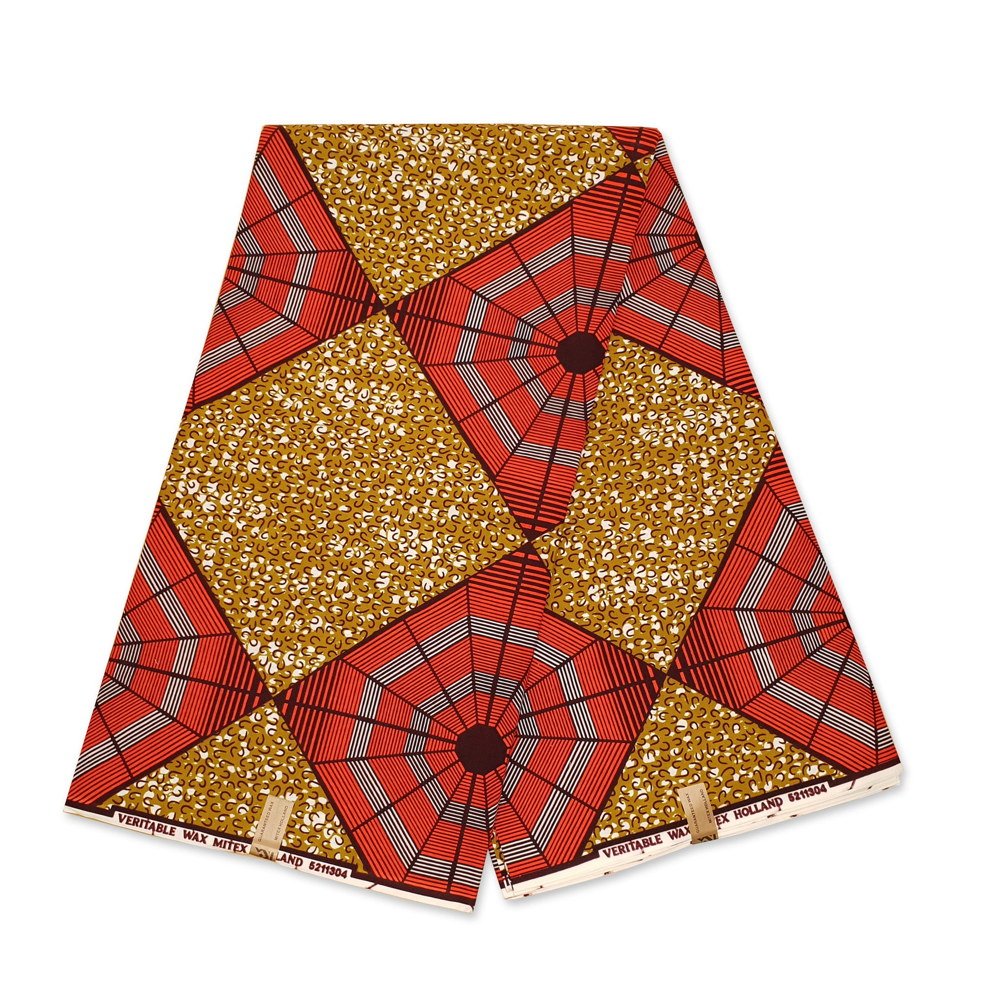 African Wax print fabric - Beige Puzzle