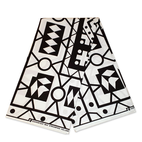African BLACK / WHITE SAMAKAKA ANGOLA Wax print fabric / cloth (Traditional Samacaca)