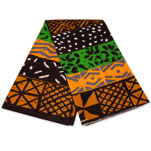 African Green / Orange BOGOLAN / MUD CLOTH Wax print fabric / cloth (Traditional Mali)