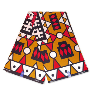 African MUSTARD / RED SAMAKAKA ANGOLA Wax print fabric / cloth (High quality) (Traditional Samacaca)