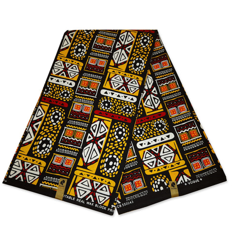 African Wax print fabric - Black / Purple / Orange Tie-Dye fabric - 100% cotton (glossy)