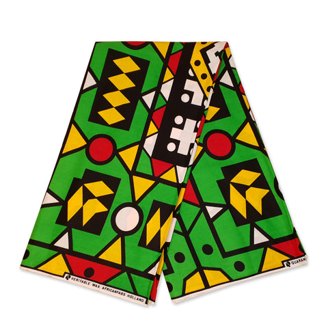 African GREEN / YELLOW / RED SAMAKAKA ANGOLA Wax print fabric / cloth (Traditional Samacaca)
