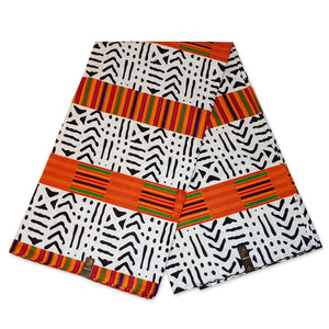 African White / Orange Kente BOGOLAN / MUD CLOTH print fabric / cloth (Traditional Mali)