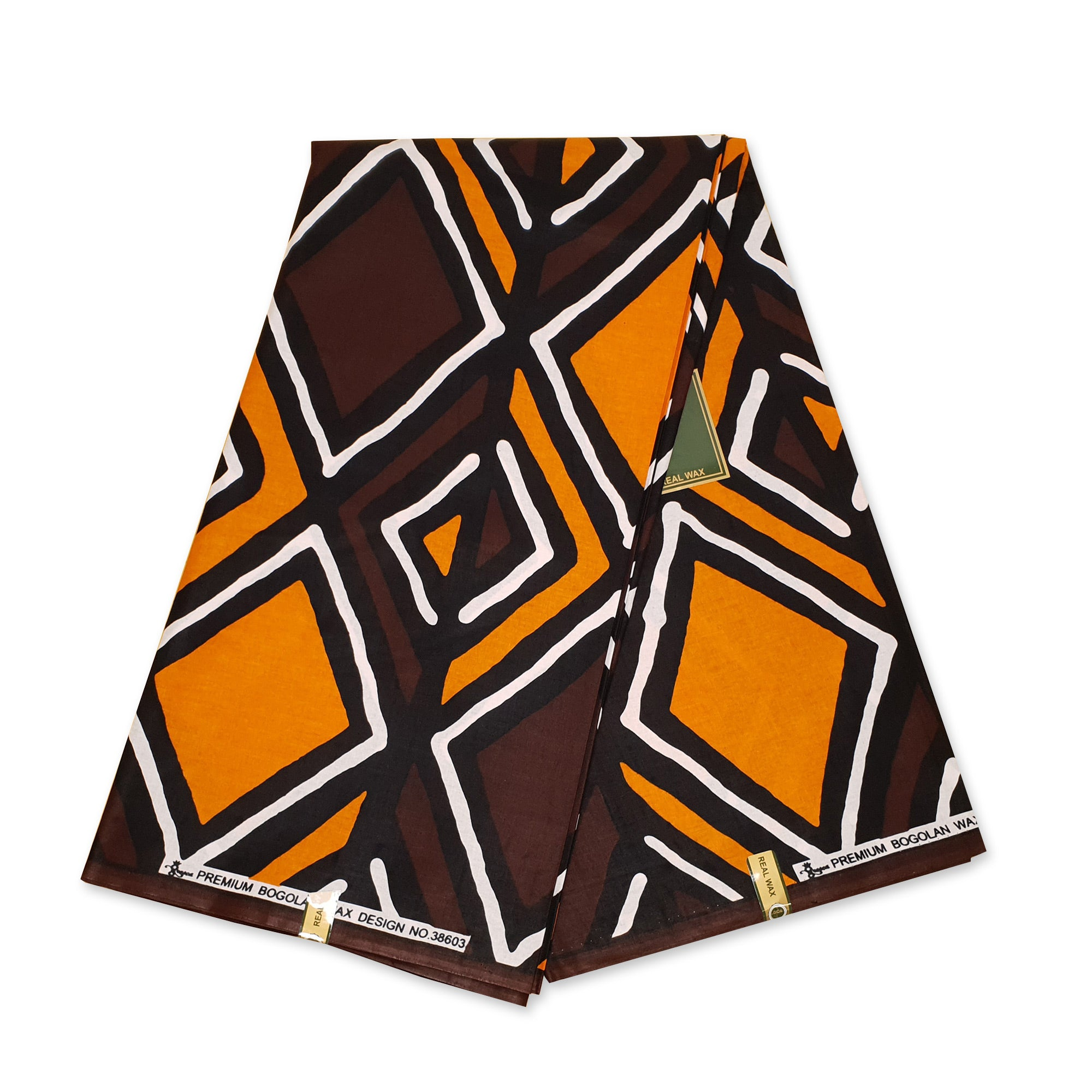 African Beige / Orange-Brown BOGOLAN / MUD CLOTH print fabric / cloth (Traditional Mali)