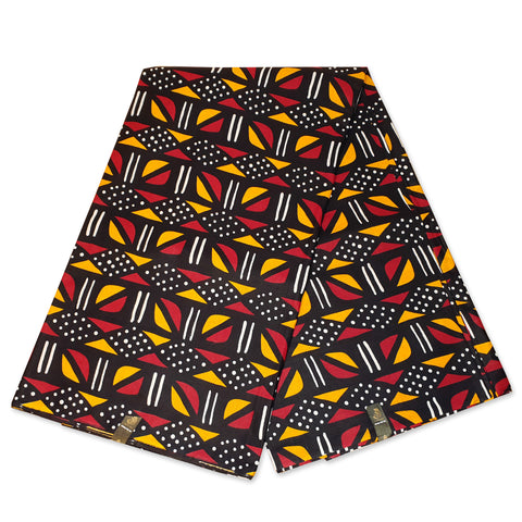 African Red-Maroon Yellow BOGOLAN / MUD CLOTH print fabric / cloth (Traditional Mali)