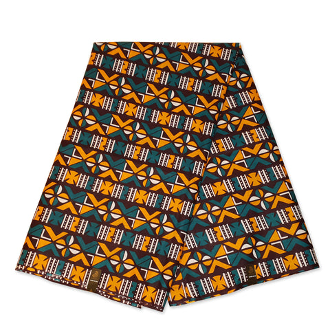 African Turquoise Yellow BOGOLAN / MUD CLOTH print fabric / cloth (Traditional Mali)