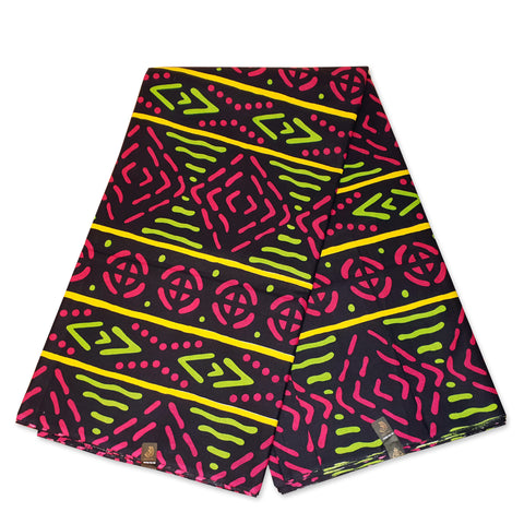 African Pink Green Yellow BOGOLAN / MUD CLOTH print fabric / cloth (Traditional Mali)