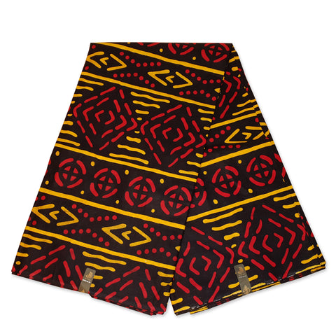 African Black Red Yellow BOGOLAN / MUD CLOTH print fabric / cloth (Traditional Mali)