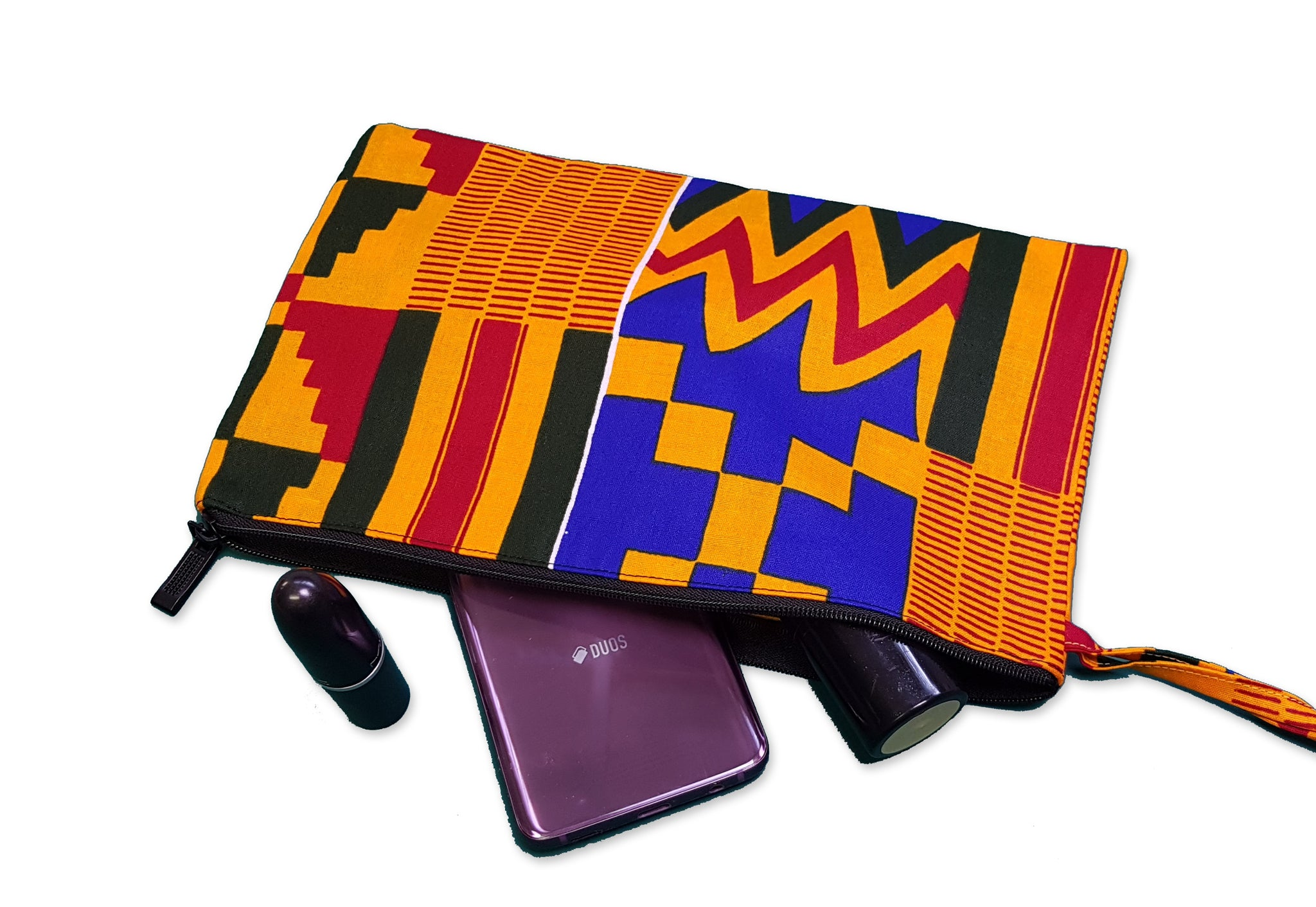 African print Makeup pouch / Pencil case - Kente style 3