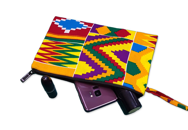 African print Makeup pouch / Pencil case - Kente style 4