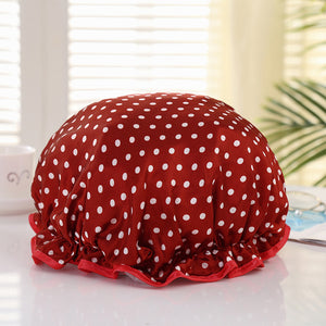 Shower cap (reusable) - Red with dots