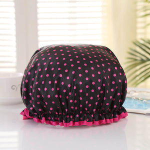 Shower cap (reusable) - Black with pink dots