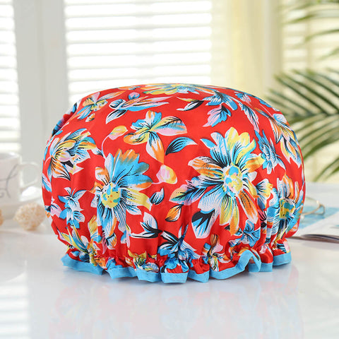 Shower cap (reusable) - Red with flowers