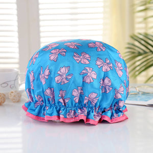 Shower cap (reusable) - Blue with pink ribbons