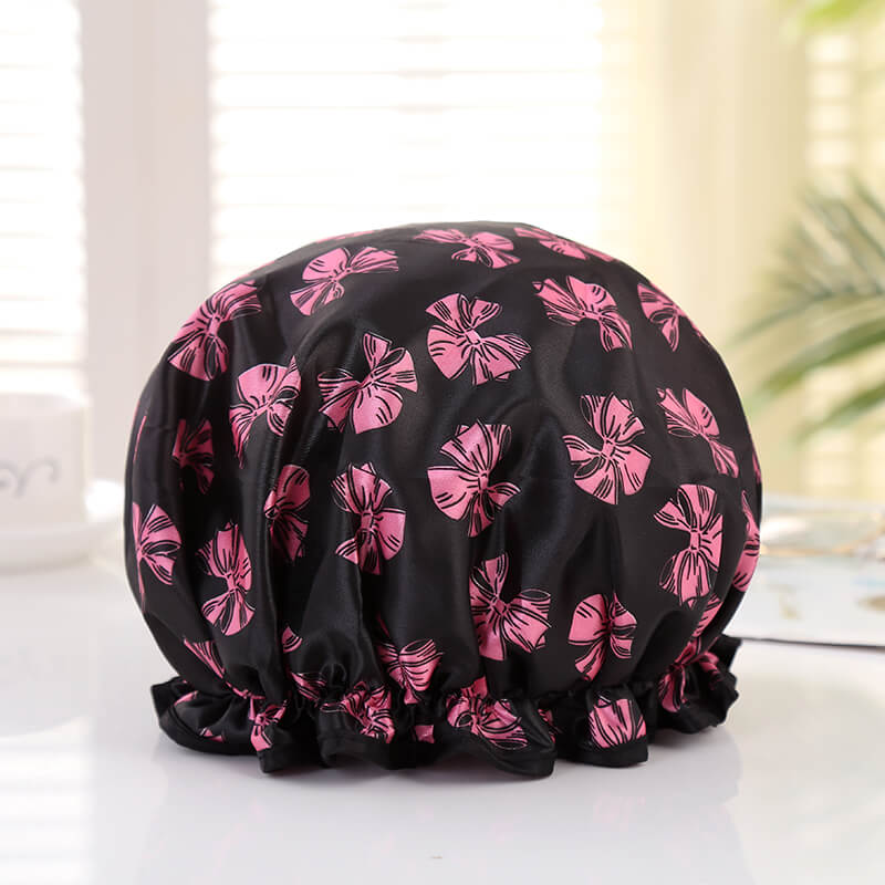 XL Shower cap (reusable) - Black with pink ribbons