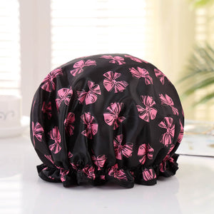 Shower cap (reusable) - Black with pink ribbons