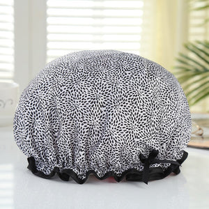 Shower cap (reusable) - Blue with cherries