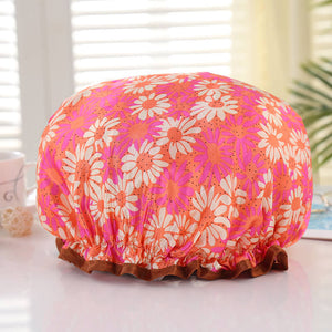 Shower cap (reusable) - Orange / pink with flowers