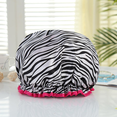 Shower cap (reusable) - White with zebra